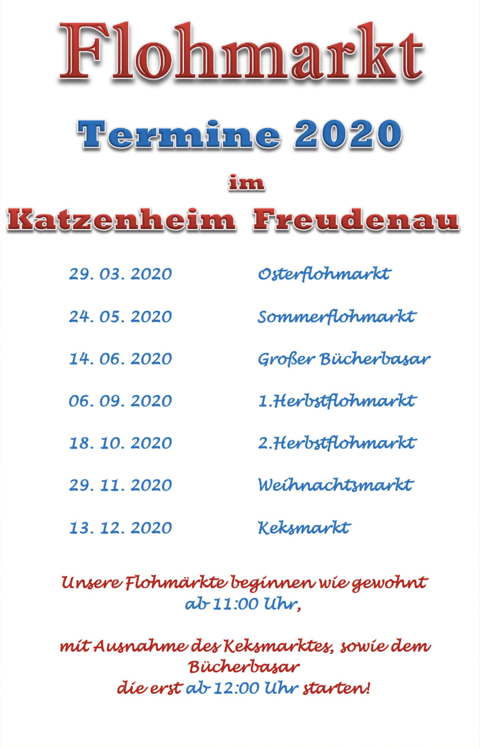 Flohmarkt Termine 2020 im Katzenheim Freudenau